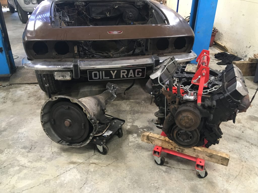 Interceptor engine and gearbox removed